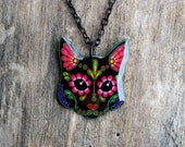 THE ORIGINAL Day of the Dead Sugar Skull Kitty Cat in Black Necklace