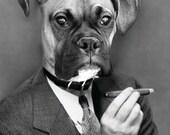 Custom Cigar Smoker Pet Portrait