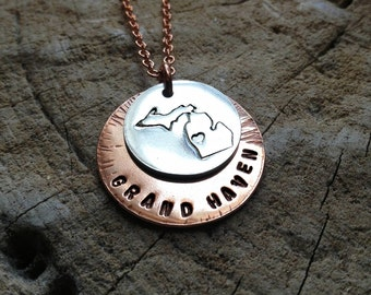 Michigan Sterling & Copper Necklace Personalize the Location of the Heart over the City of Your Choice
