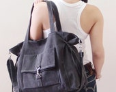 Canvas Tote in Pre Washed Black, Shoulder Bag, Crossbody bag, School bag, Handbags, Diapers bag, Gift for Women - EZ -  SALE 20% OFF