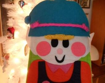 Vintage Christmas Santa's Elf Stocking 50s 60s 70s So cute Pixie Dwarf