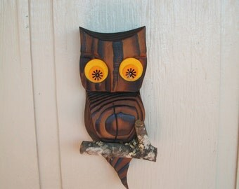 Vintage  Wooden Owl On Branch Wall Decor Wall Hanging Wood 1960s 10 Inches  X  4 And 3/4 Inches
