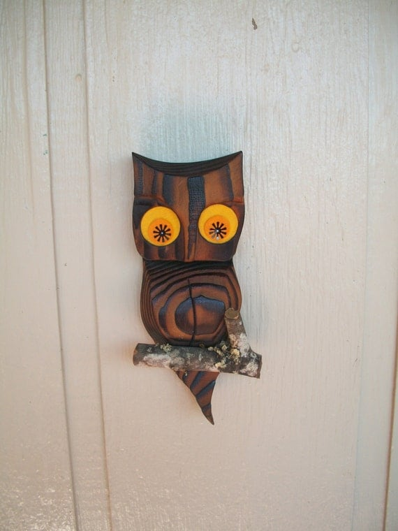 Wooden Owl Wall Decor : Vintage wooden owl on branch wall decor hanging wood