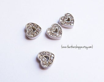 8mm Floating Heart Rhinestone Floating Charm for glass living lockets origami owl