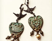 Lovely vintage inspired heart shaped earrings with verdigris patina