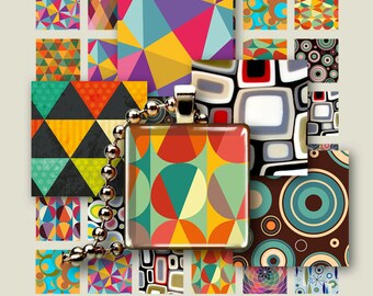 1x1 and 1.5x1.5 inch size images GEOMETRIC RETRO TILES  Printable Digital Download for pendants, magnets bezels settings trays keychains