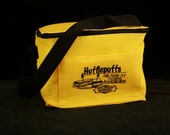 Hufflepuff Sandwich Cooler Bag zippered Lunch box or CD carrying case/ goldenrod yellow Blibbering Humdingers Harry Potter inspired