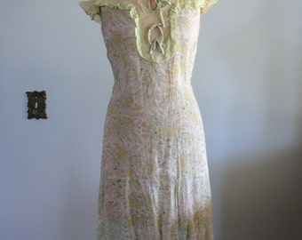 1920s green floral Cotton Dress