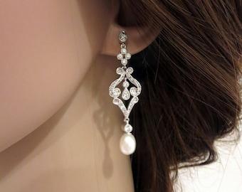 Pearl Bridal earrings, Crystal Wedding earrings, Long earring, Bridal jewelry, cubic zirconia earrings, chandelier earrings, Pearl earrings