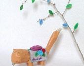 Paper Mache Original- Folk Artwork Original - Mixed Media - OOAK - by Emma Talbot of The Little Brown Rabbit