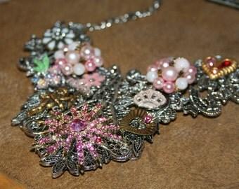 Pink Sun Burst Necklace