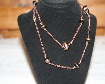 Black Lampwork/ Bead/ and Chain/ Necklace