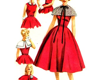 Vintage 1950s Circular Skirt Dress Sewing Pattern Fitted Bodice detachable Collar Simplicity 1972  Size 16 Bust 36 Inch
