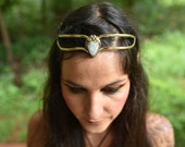 Even Fairy Pixie Brass Tribal Goddess Moonstone Tear Drop Crystal Stone Flower Leaf Tiara Crown Head Piece OOAK
