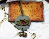 Palm Reader Necklace Gypsy Fortune Teller Antiqued Brass