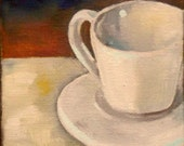 little white cup still life mini art painting  4 x 4 inch