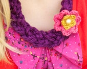Crochet Braid Necklace With Flower-Purple/Pink