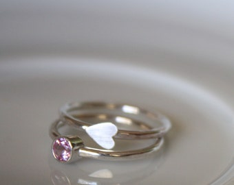 Mothers Rings - Stacking Rings - Valentine - Heart - Sterling Silver - Made to Order