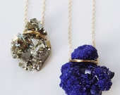 ON SALE Layering Crystal Gold Necklace Azurite Pyrite