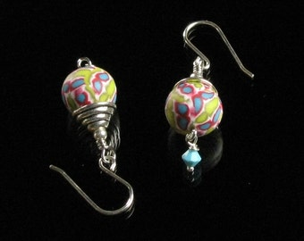 Colorful Silver Dangle Earrings - Polymer Clay Jewelry - Art Jewelry - Multicolored Drop Earrings - Unique Gift for Women - Friend, Mom Gift
