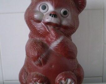 SALE Large Teddy Bear Plastic Novelty Piggy Bank Toy Blowmold