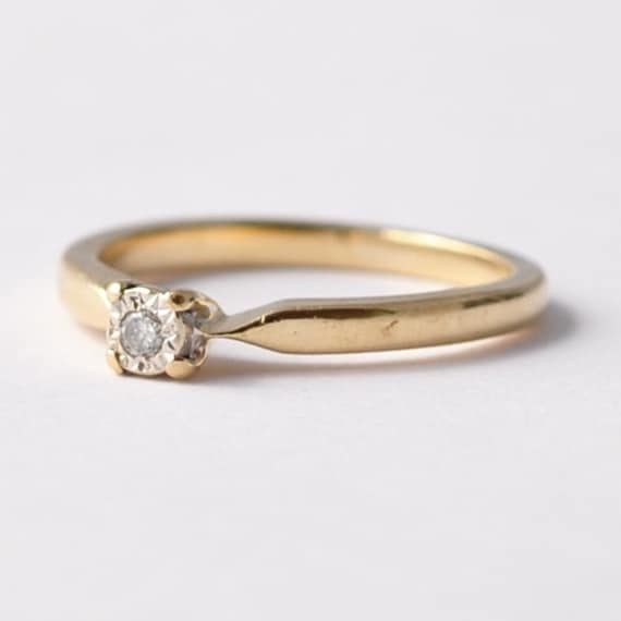 Square Diamond Solitaire Promise Ring: Retro by ...