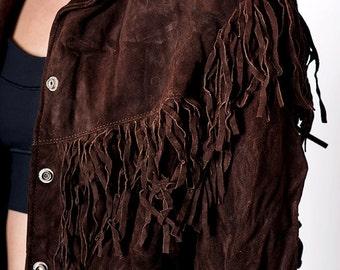 The Vintage Brown Cowboy Fringe Suede Jacket