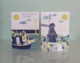 Amsterdam Birthday Cards, Windmill and House Boat Greetings Cards