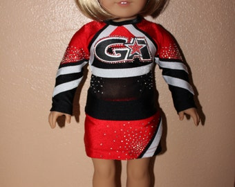 "Made to order Heat Cheerleader Uniform to fit American Girl Doll or any 18"" doll"