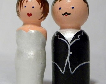 """Wedding Cake Toppers Bride Groom, wooden, hand painted  2 1/2"""" tall"""
