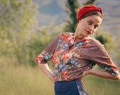 Cherry red turban headband in soft cotton jersey with a twist