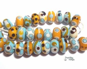 SAMBARA Lampwork Beads Handmade Cool Colors Tiny Teeny Beads Squash Turquoise Blue  Black Ivory   Set of 30
