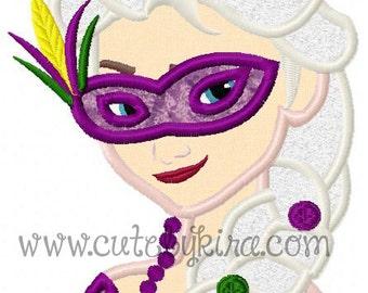 Cold Queen Mardi Gras Applique Machine Embroidery Design (DIGITAL ITEM)