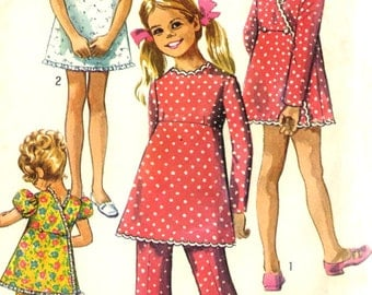 Vintage 1960s Simplicity 8571 Childs Wrap Dress, Tunic and Bell Bottom Pants Sewing Pattern Size 7