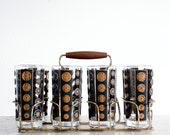 8 Vintage MCM Glass Tumblers with Carrier / Mid Century Barware / Black and Gold / Libbey glassware