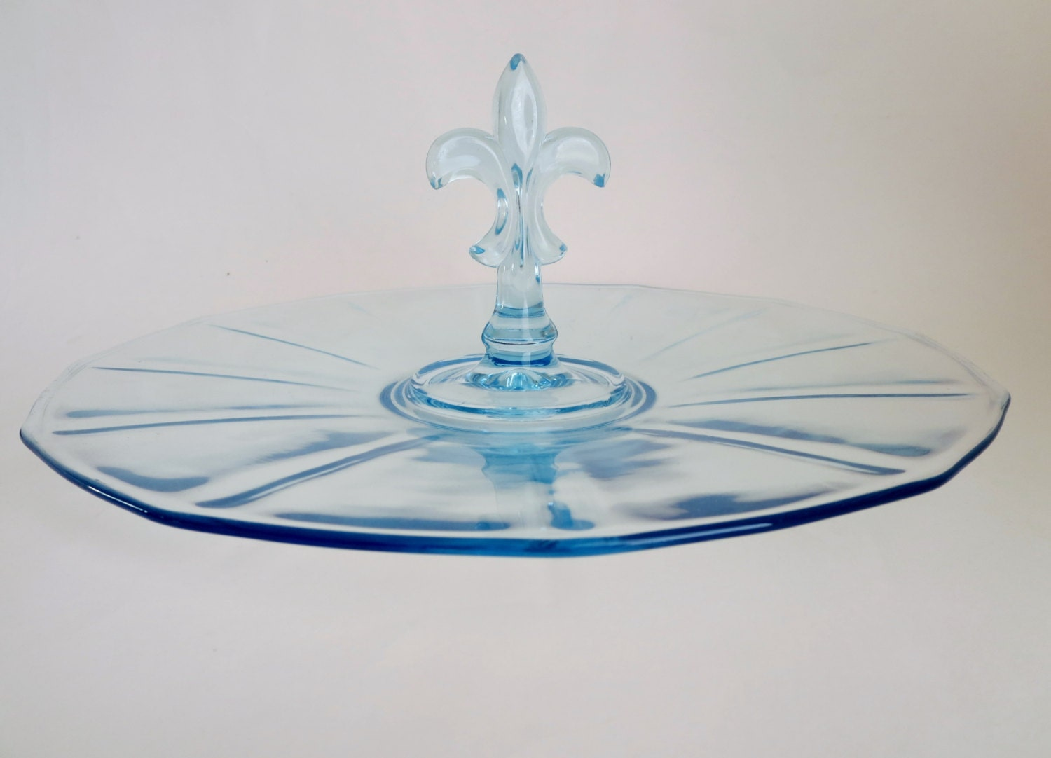 Light blue glass tidbit serving tray with fleur de lis by klassic - Fleur de lis serving tray ...