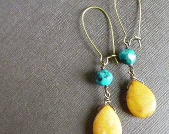 Summer Earrings -- Mustard Jade with Turquoise on Antiqued Brass -- babblingbrookes