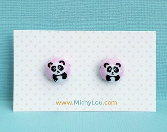 cute panda earrings in black and white panda on a pink background 100% cotton print fabric
