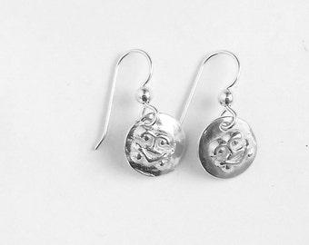 Sterling Alutiiq petroglyph earrings, Alaska jewelry, rock art accessory