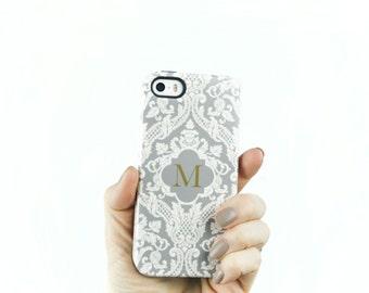 Personalized iPhone 7 Case Monogram Phone Case Damask iPhone SE, iPhone 6S Plus Case Cream and Gray iPhone 7 Plus Tough