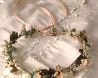 Champagne wedding headpiece Dried Flower style Bridal Crown ivory hair wreath by AmoreBride Headdress accessories garland girl halo circlet