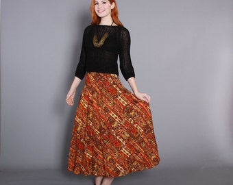 Vintage 70s Ethnic MAXI SKIRT / 1970s PLEATED Indian Print Skirt, xs...Sale