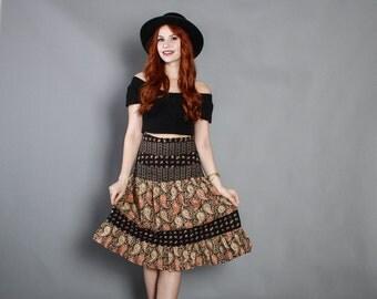 70s High Waist Novelty BIRD Print SKIRT / 1970s Black Paisley Floral Cotton Skirt