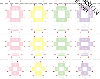 Printable PDF File - Dollhouse Miniature Cupcake Box - PASTEL - with Guide, Tips and Tricks for beginners