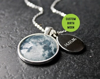 Personalised Birth Moon Necklace with Engraved Date - Custom Glass Dome moon phase Necklace Birthday solar system