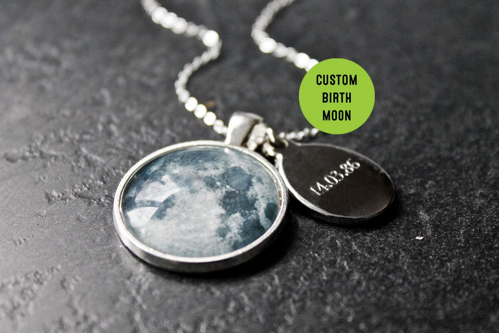 personalised birth moon necklace with engraved date custom