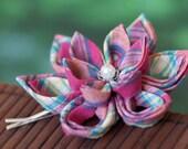 Pink plaid hair flower, floral hair pin, preppy, women, girls, summer, kawaii, kanzashi, Japanese, cotton fabric, fascinator, UK, handmade