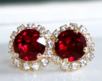 Brilliant Ruby Red Swarovski Crystals Framed with Halo Crystals on Gold Post Earrings