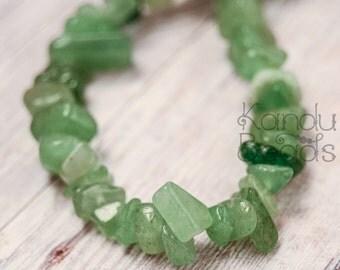 "Small Green Aventurine Small Chip Beads  6-8mm  35""  strand"