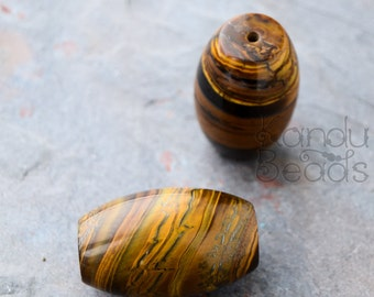 GIANT Tigereye Tigers Eye Tiger Eye Smooth Polished Barrel Nugget beads 40x25mm (1.75 inches)